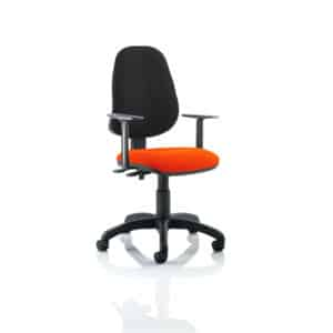 Eclipse II Lever Task Operator Chair Black Back Bespoke Seat With Height Adjustable Arms In Tabasco Red