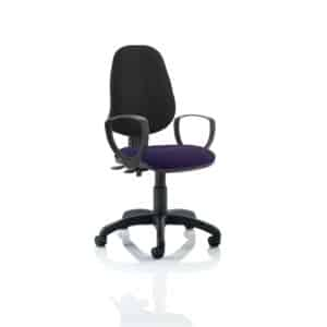 Eclipse II Lever Task Operator Chair Black Back Bespoke Seat With Loop Arms In Tansy Purple