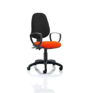 Eclipse II Lever Task Operator Chair Black Back Bespoke Seat With Loop Arms In Tabasco Red