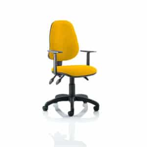 Eclipse III Lever Task Operator Chair Bespoke With Height Adjustable Arms In Senna Yellow
