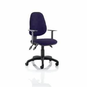 Eclipse III Lever Task Operator Chair Bespoke With Height Adjustable Arms In Tansy Purple