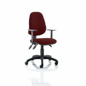 Eclipse III Lever Task Operator Chair Bespoke With Height Adjustable Arms In Gingseng Chilli