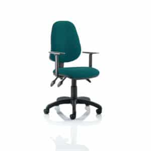 Eclipse III Lever Task Operator Chair Bespoke With Height Adjustable Arms In Maringa Teal