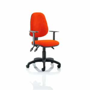 Eclipse III Lever Task Operator Chair Bespoke With Height Adjustable Arms In Tabasco Red