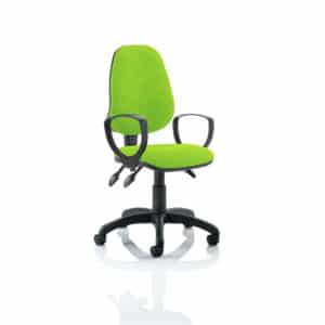 Eclipse III Lever Task Operator Chair Bespoke With Loop Arms In Myrhh Green