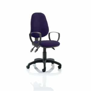 Eclipse III Lever Task Operator Chair Bespoke With Loop Arms In Tansy Purple