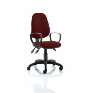 Eclipse III Lever Task Operator Chair Bespoke With Loop Arms In Gingseng Chilli