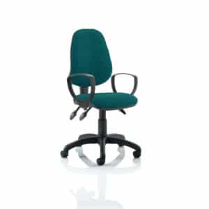 Eclipse III Lever Task Operator Chair Bespoke With Loop Arms In Maringa Teal