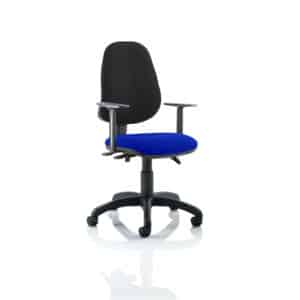 Eclipse III Lever Task Operator Chair Black Back Bespoke Seat With Height Adjustable Arms In Stevia Blue