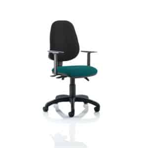 Eclipse III Lever Task Operator Chair Black Back Bespoke Seat With Height Adjustable Arms In Maringa Teal