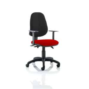 Eclipse III Lever Task Operator Chair Black Back Bespoke Seat With Height Adjustable Arms In Tabasco Red