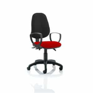 Eclipse III Lever Task Operator Chair Black Back Bespoke Seat With Loop Arms In Bergamot Cherry