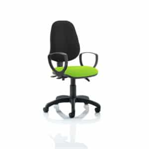 Eclipse III Lever Task Operator Chair Black Back Bespoke Seat With Loop Arms In Myrhh Green