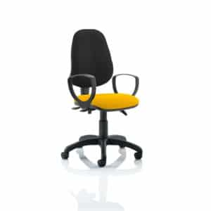 Eclipse III Lever Task Operator Chair Black Back Bespoke Seat With Loop Arms In Senna Yellow