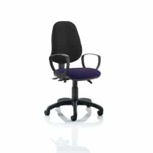 Eclipse III Lever Task Operator Chair Black Back Bespoke Seat With Loop Arms In Tansy Purple