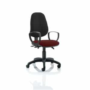 Eclipse III Lever Task Operator Chair Black Back Bespoke Seat With Loop Arms In Gingseng Chilli