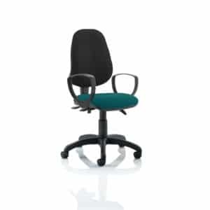 Eclipse III Lever Task Operator Chair Black Back Bespoke Seat With Loop Arms In Maringa Teal