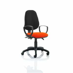 Eclipse III Lever Task Operator Chair Black Back Bespoke Seat With Loop Arms In Tabasco Red