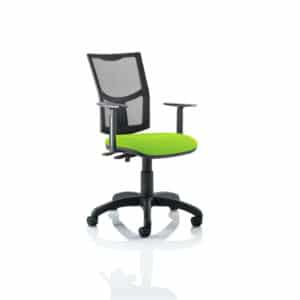 Eclipse II Lever Task Operator Chair Mesh Back With Bespoke Colour Seat in Myrhh Green With Height Adjustable Arms