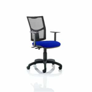 Eclipse II Lever Task Operator Chair Mesh Back With Bespoke Colour Seat in Stevia Blue With Height Adjustable Arms