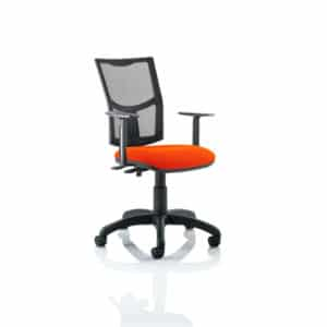 Eclipse II Lever Task Operator Chair Mesh Back With Bespoke Colour Seat in Tabasco Red With Height Adjustable Arms
