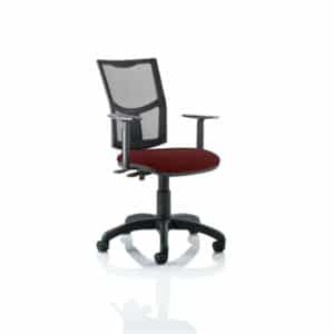 Eclipse II Lever Task Operator Chair Mesh Back With Bespoke Colour Seat in Gingseng Chilli With Height Adjustable Arms