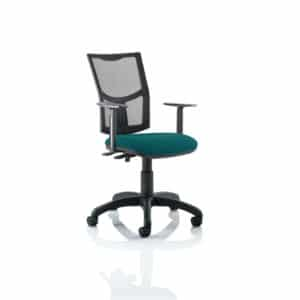 Eclipse II Lever Task Operator Chair Mesh Back With Bespoke Colour Seat in Maringa Teal With Height Adjustable Arms