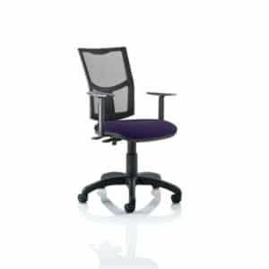 Eclipse II Lever Task Operator Chair Mesh Back With Bespoke Colour Seat in Tansy Purple With Height Adjustable Arms