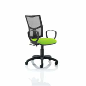 Eclipse II Lever Task Operator Chair Mesh Back With Bespoke Colour Seat With loop Arms in Myrhh Green
