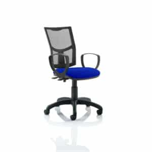 Eclipse II Lever Task Operator Chair Mesh Back With Bespoke Colour Seat With loop Arms in Stevia Blue