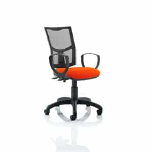 Eclipse II Lever Task Operator Chair Mesh Back With Bespoke Colour Seat With loop Arms in Tabasco Red