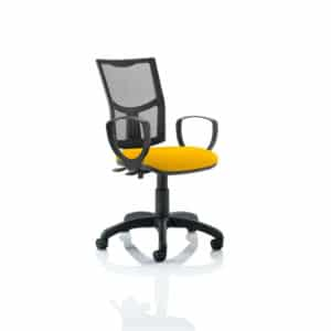 Eclipse II Lever Task Operator Chair Mesh Back With Bespoke Colour Seat With loop Arms in Senna Yellow