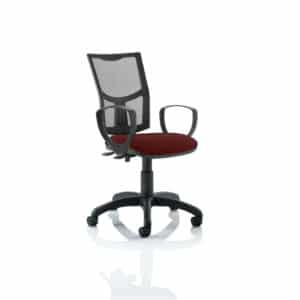 Eclipse II Lever Task Operator Chair Mesh Back With Bespoke Colour Seat With loop Arms in Gingseng Chilli