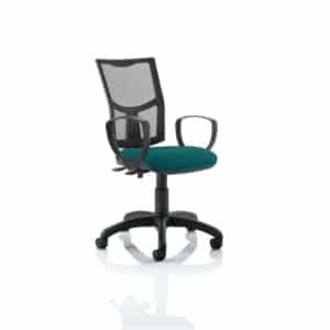 Eclipse II Lever Task Operator Chair Mesh Back With Bespoke Colour Seat With loop Arms in Maringa Teal