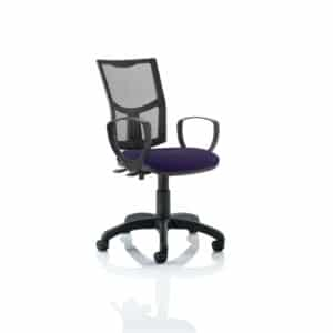 Eclipse II Lever Task Operator Chair Mesh Back With Bespoke Colour Seat With loop Arms in Tansy Purple