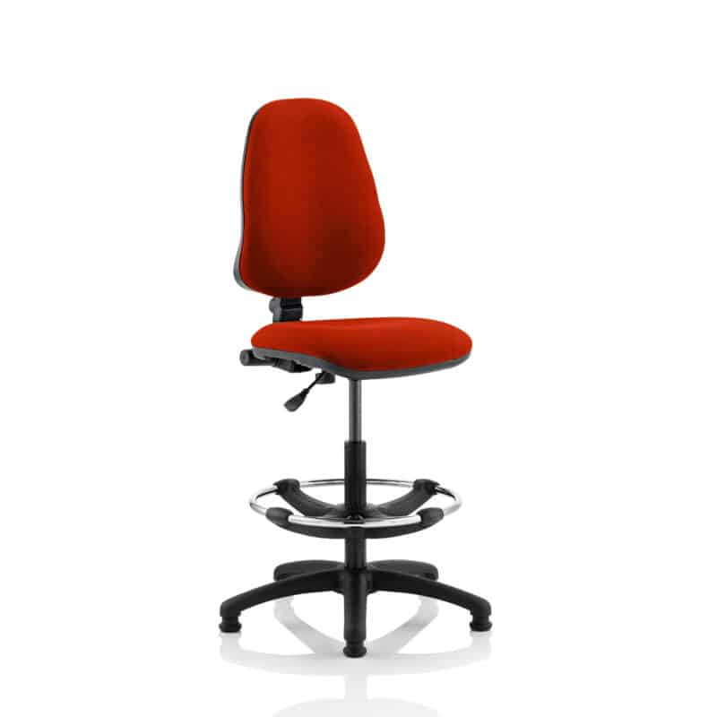 Eclipse I Lever Task Operator Chair Tabasco Red Fully Bespoke Colour With Hi Rise Draughtsman Kit