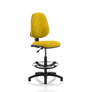 Eclipse I Lever Task Operator Chair Senna Yellow Fully Bespoke Colour With Hi Rise Draughtsman Kit