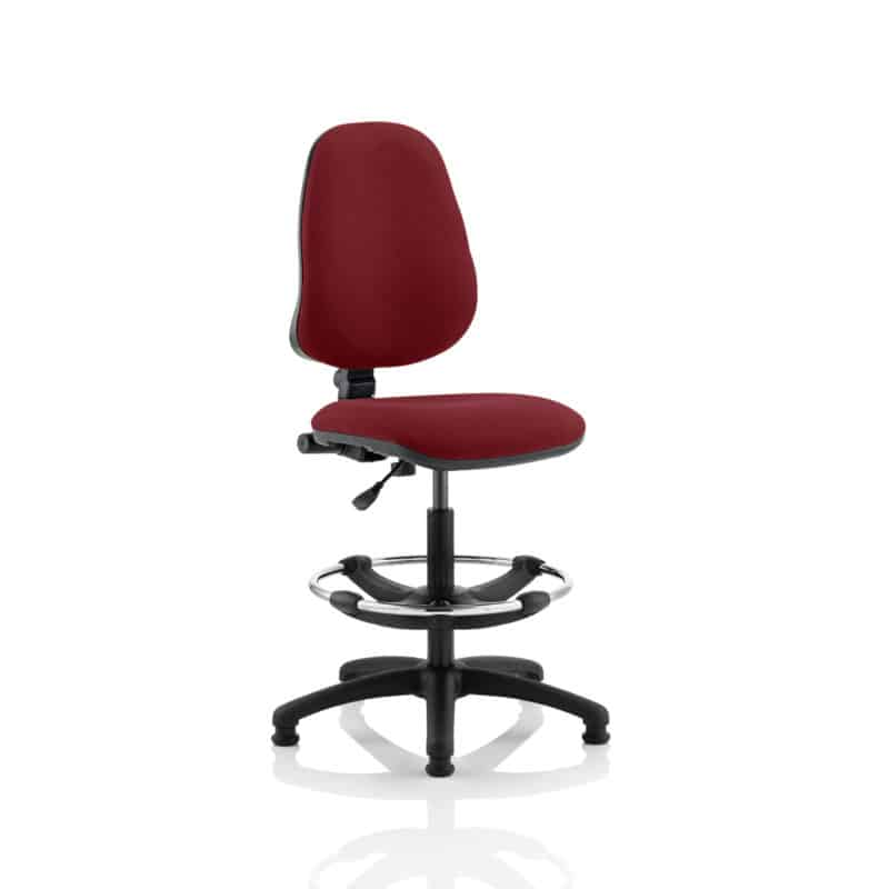 Eclipse I Lever Task Operator Chair Gingseng Chilli Fully Bespoke Colour With Hi Rise Draughtsman Kit