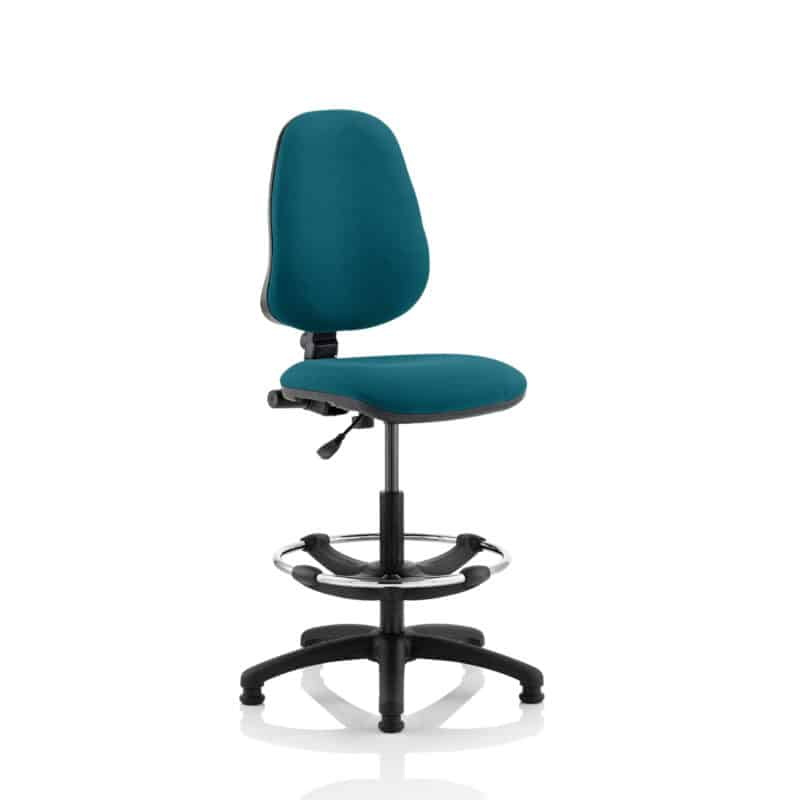 Eclipse I Lever Task Operator Chair Maringa Teal Fully Bespoke Colour With Hi Rise Draughtsman Kit