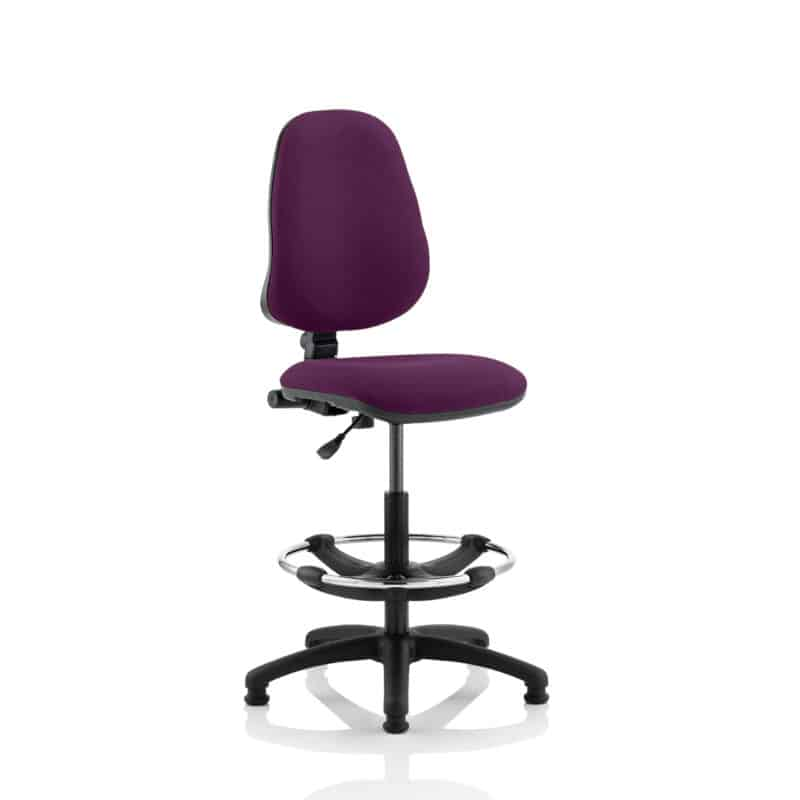 Eclipse I Lever Task Operator Chair Tansy Purple Fully Bespoke Colour With Hi Rise Draughtsman Kit