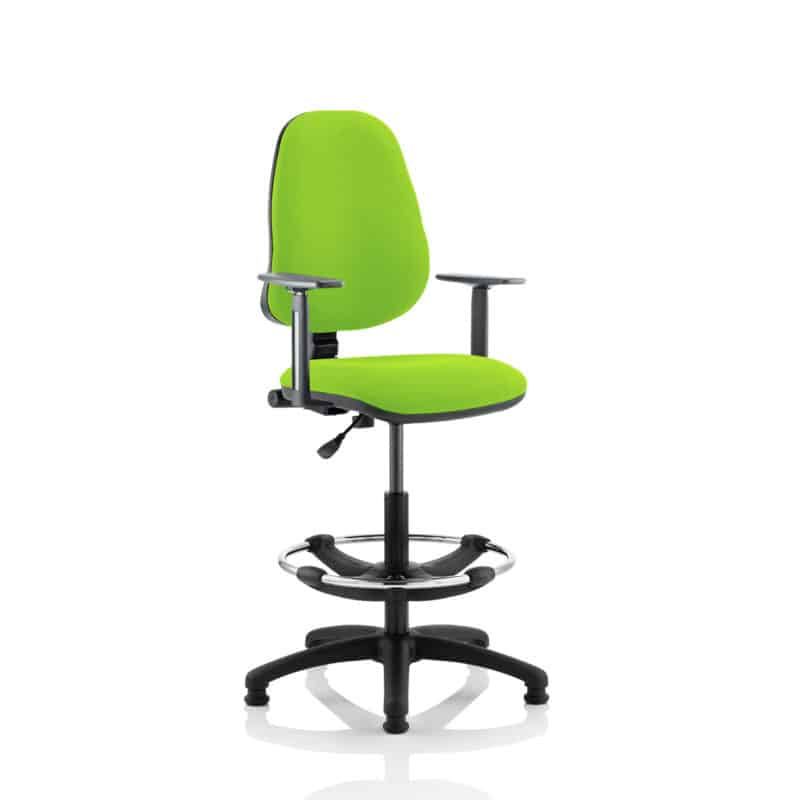Eclipse I Lever Task Operator Chair Myrhh Green Fully Bespoke Colour With Height Adjustable Arms with Hi Rise Draughtsman Kit
