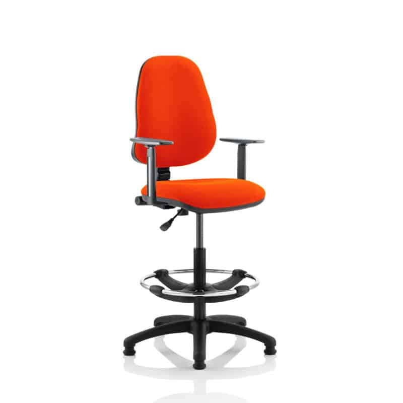 Eclipse I Lever Task Operator Chair Tabasco Red Fully Bespoke Colour With Height Adjustable Arms with Hi Rise Draughtsman Kit