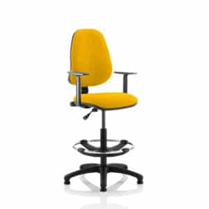 Eclipse I Lever Task Operator Chair Senna Yellow Fully Bespoke Colour With Height Adjustable Arms with Hi Rise Draughtsman Kit