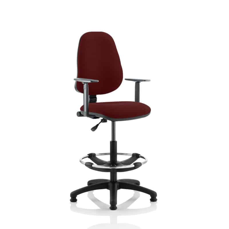 Eclipse I Lever Task Operator Chair Gingseng Chilli Fully Bespoke Colour With Height Adjustable Arms with Hi Rise Draughtsman Kit