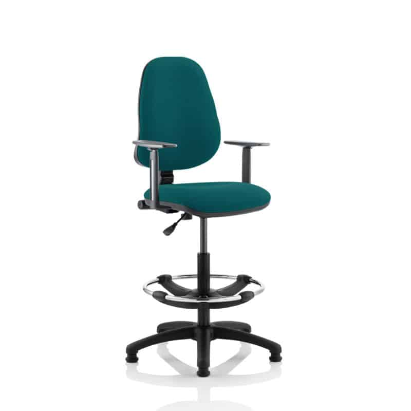 Eclipse I Lever Task Operator Chair Maringa Teal Fully Bespoke Colour With Height Adjustable Arms with Hi Rise Draughtsman Kit