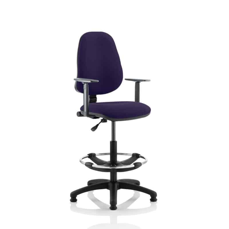 Eclipse I Lever Task Operator Chair Tansy Purple Fully Bespoke Colour With Height Adjustable Arms with Hi Rise Draughtsman Kit
