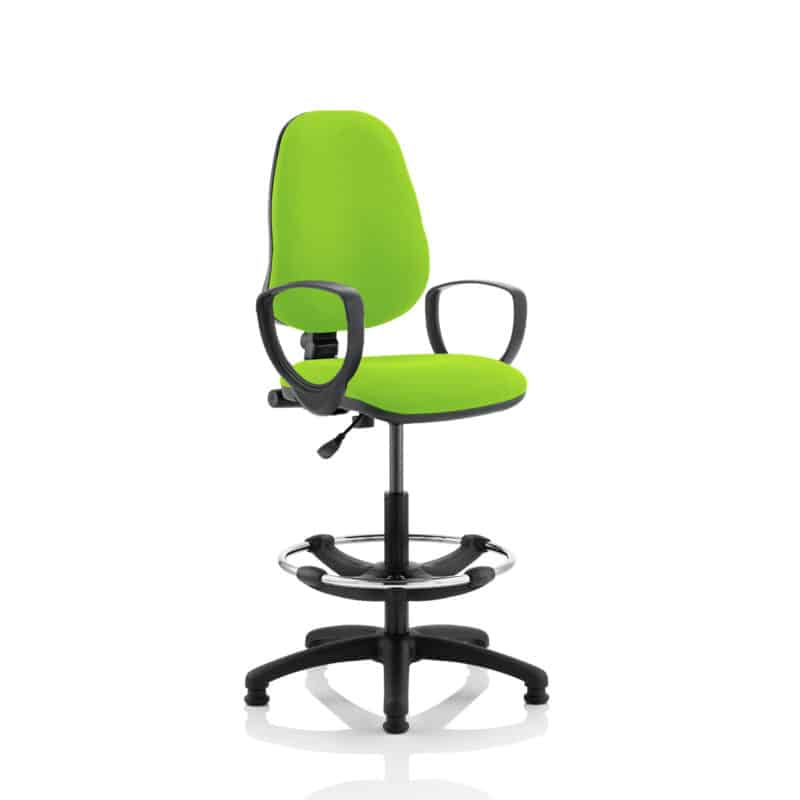 Eclipse I Lever Task Operator Chair Myrhh Green Fully Bespoke Colour With Loop Arms with Hi Rise Draughtsman Kit