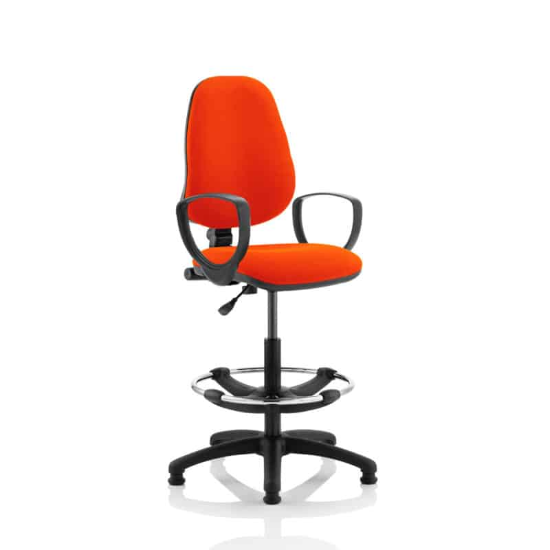 Eclipse I Lever Task Operator Chair Tabasco Red Fully Bespoke Colour With Loop Arms with Hi Rise Draughtsman Kit