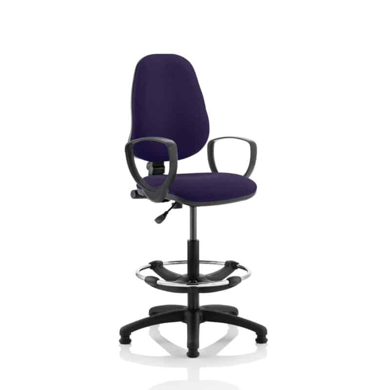 Eclipse I Lever Task Operator Chair Tansy Purple Fully Bespoke Colour With Loop Arms with Hi Rise Draughtsman Kit