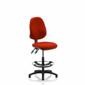Eclipse II Lever Task Operator Chair Tabasco Red Fully Bespoke Colour With Hi Rise Draughtsman Kit